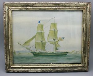 Antique Lemon Gold Wood Frame Rabbet 8 X 6 25 W Print