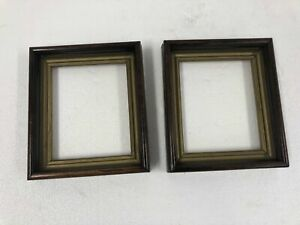 Antique Picture Frame Pair Fits 5 X 6 Brown Gold Wood Vintage Victorian Photo