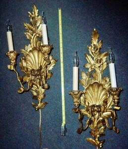 Antique Carved Gilt Wood Wall Candle Sconces Flowers And Shells Electrified But