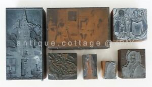 Antique 7pc Typeset Printers Blocks Wood Patriotic Native American Indian Libert