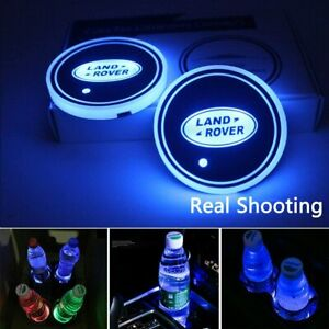 2pcs Led Car Logo Cup Holder Pad 7 Colors Changing Lights Gift For Land Rover