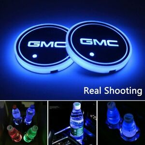 2pcs Led Car Logo Cup Holder Pad 7 Colors Changing Lights Best Gift For Gmc