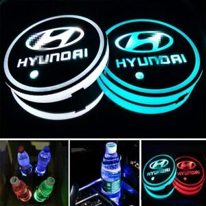 2pcs Led Car Logo Cup Holder Pad 7 Colors Changing Lights Best Gift For Hyundai