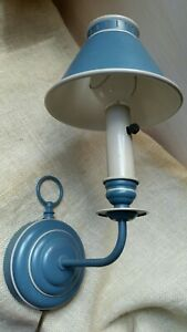 Vintage Metal French Blue Tole Light Fixture Reading Wall Lamp Sconce Toleware
