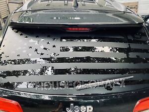 Distressed Ripped American Flag Window Vinyl Decal Fits Jeep Grand Cherokee