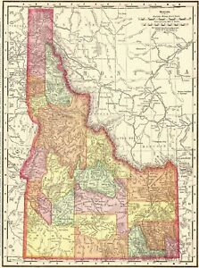 1901 Antique Idaho State Map Vintage Map Of Idaho Gallery Wall Art 7947