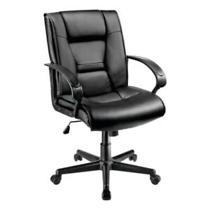 Office Chair Leather Computer Mid Back Comfort Adjustable