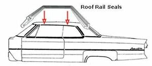 1965 1966 Cadillac Coupe Roof Rail Seals Pair