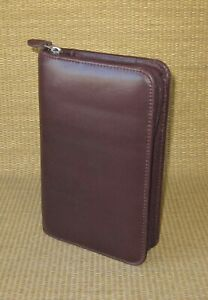 Portable Day timer Burgundy Leather 1 Rings Planner binder Filofax Personal