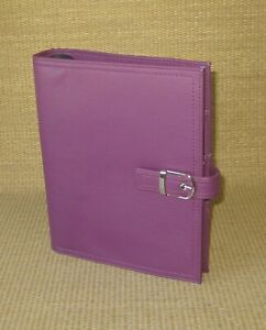 Desk Day timer Fuchsia Unstructured Sim Leather 1 125 Rings Planner binder