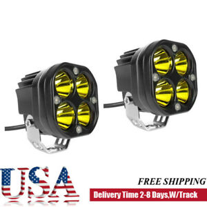 2x 3inch 80w Yellow Led Work Light Spot Pods Driving Fog Offroad 4wd Atv Suv Usa