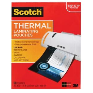 Scotch Thermal Full sheet Laminating Pouches 50 count 8 1 2 X 11 50 count