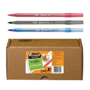 Bic Round Stic Xtra Life 240 count Assorted Ball point Pens