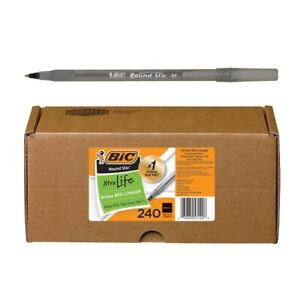 Bic Round Stic Xtra Life 240 count Black Ball point Pens