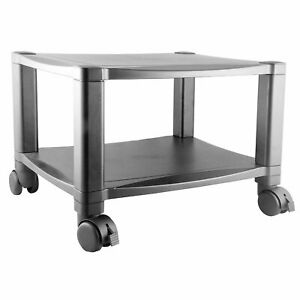 Sturdy 2 shelf Mobile Printer Stand Cart In Black With Locking Casters