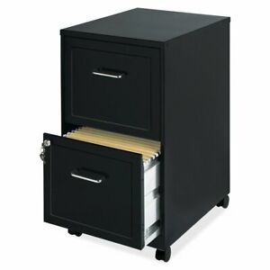 Black Metal 2 drawer Filing Cabinet With Rolling Casters Wheels