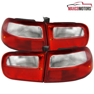 For 92 93 94 95 Honda Civic Eg Hatchback Red Clear Tail Lights Lamps Pair