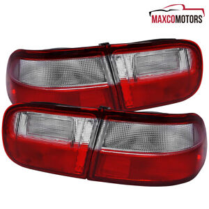 For 92 93 94 95 Honda Civic Eg Coupe Sedan Red Clear Tail Lights Lamps Pair