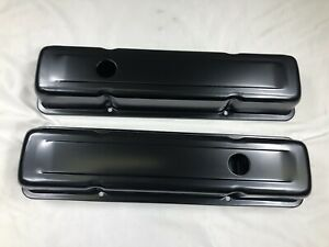 Steel 1958 86 Small Block Chevy 350 Black Short Valve Covers 283 305 327 383 Sbc