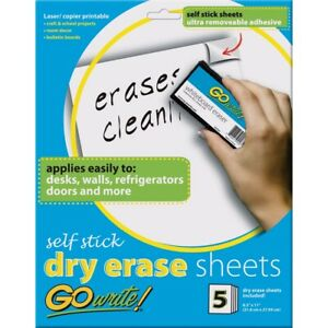 Gowrite Self stick Dry Erase Surface Sheets 8 1 2 X 11 Sheets