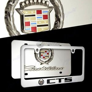 3d Cadillac Cts Logo Stainless Steel License Plate Frame 2pcs Front Back Set