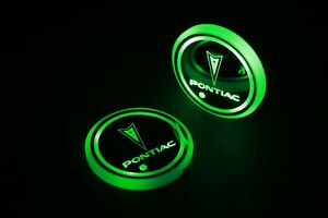 2pcs Led Car Logo Cup Holder Pad 7 Colors Changing Lights Best Gift For Pontiac