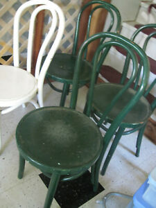 4 Bentwood Wood Ice Cream Parlor Bistro Cafe Chairs Painted White Green