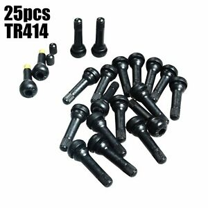 25pcs Tr414 Snap In Tire Wheel Valve Stems Medium Black Rubber Kit Universal