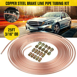 25 Ft Roll Coil Of 3 16 Od Copper Brake Line Tubing Kit W 20 Fittings Nuts Us