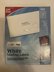 New Avery 5160 Easy Peel Address Labels 1 X 2 5 8 3000 Labels 100 Sheets