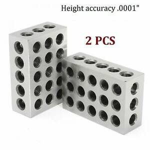 1pair 1 2 3 123 Block Set Precision Matched Mill Milling Machinist 23 Holes