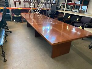 12ft L Conference Table In Cherry Color Wood