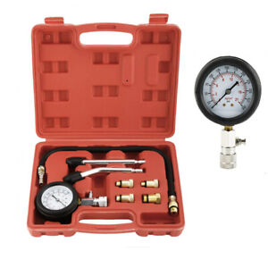8pcs Auto Motorcycle Petrol Engine Cylinder Compression Tester Gauge Tool New