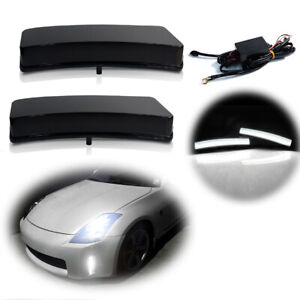 White Drl Daytime Running Lights Led Lamps For 03 05 Nissan 350z Z33 Black Lens