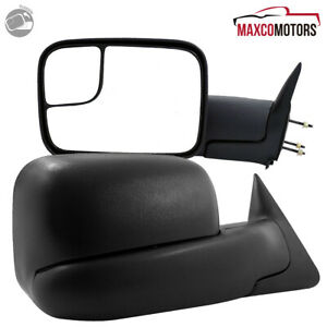 For 1994 1997 Dodge Ram 1500 2500 3500 Flip Up Manual Extend Side Towing Mirrors