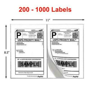 200 1000 Shipping Labels 8 5 X 5 5 Half Sheets Adhesive 2 Per Sheet 8 5 X 11