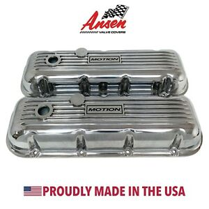 Big Block Chevy Classic Motion Logo Valve Covers Polished Ansen Usa