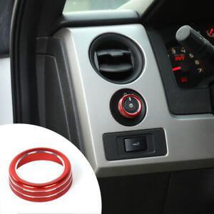 Car Headlight Switch Knob Ring Trim Bezles For Ford F150 2009 14 Red Accessories