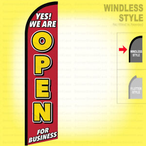 Yes We Are Open For Business Windless Swooper Flag Feather Banner Sign Rf