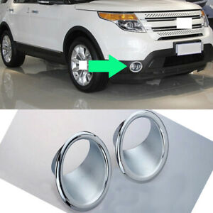 2x Silvery Abs Front Fog Light Lamp Cover Frame Trim For Ford Explorer 2013 2015
