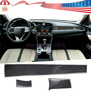Carbon Fiber Interior Dashboard Console Trim Sticker For Honda Civic 2016 2019