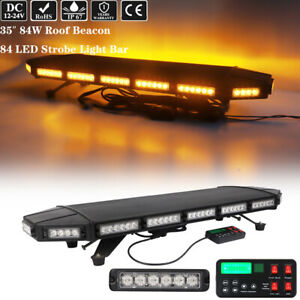 35 Led Emergency Warning Strobe Light Bar Tow Truck Wrecker Roof Top Amber 84w