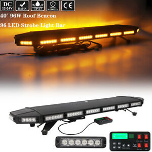 40 Led Emergency Warning Strobe Light Bar Tow Truck Wrecker Roof Top Amber 96w