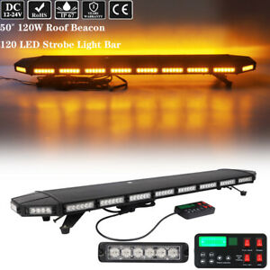 50 Led Emergency Warning Strobe Light Bar Tow Truck Wrecker Roof Top Amber 120w