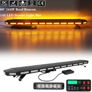 60 Led Strobe Light Bar Emergency Warning Roof Top Tow Truck Wrecker Amber 144w