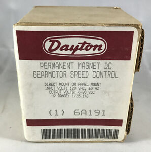 Dayton 6a191 Permanent Magnet Dc Gear Motor Speed Control New