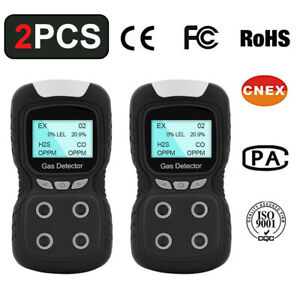 2pcs Gas Detector Rechargeable Portable 4in1 Gas Monitor Meter Tester Analyzer