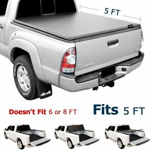 5ft Tri Fold Tonneau Truck Cover For 2016 2017 2018 Toyota Tacoma Bed