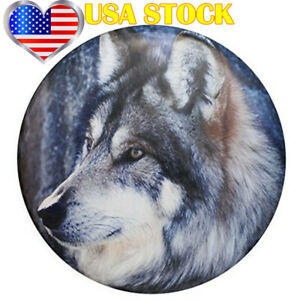 Spare Tire Cover 15inch Wolf Wheel Protection Waterproof For Jeep Wrangler Suv