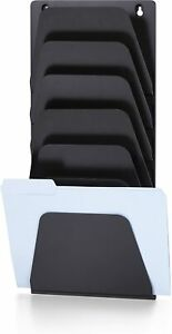 Officemate Wall File Holder Letter legal 7 Pockets Black 21505 New